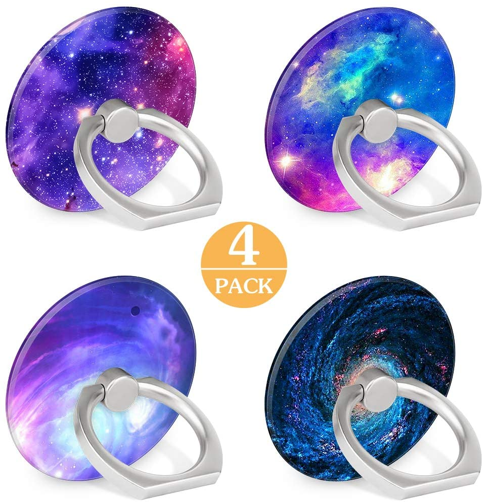 4-Pack Phone Ring Holder 360 Rotation Finger Stand Grip Kickstand for Smartphones and Tablets (Galaxy Nebula)