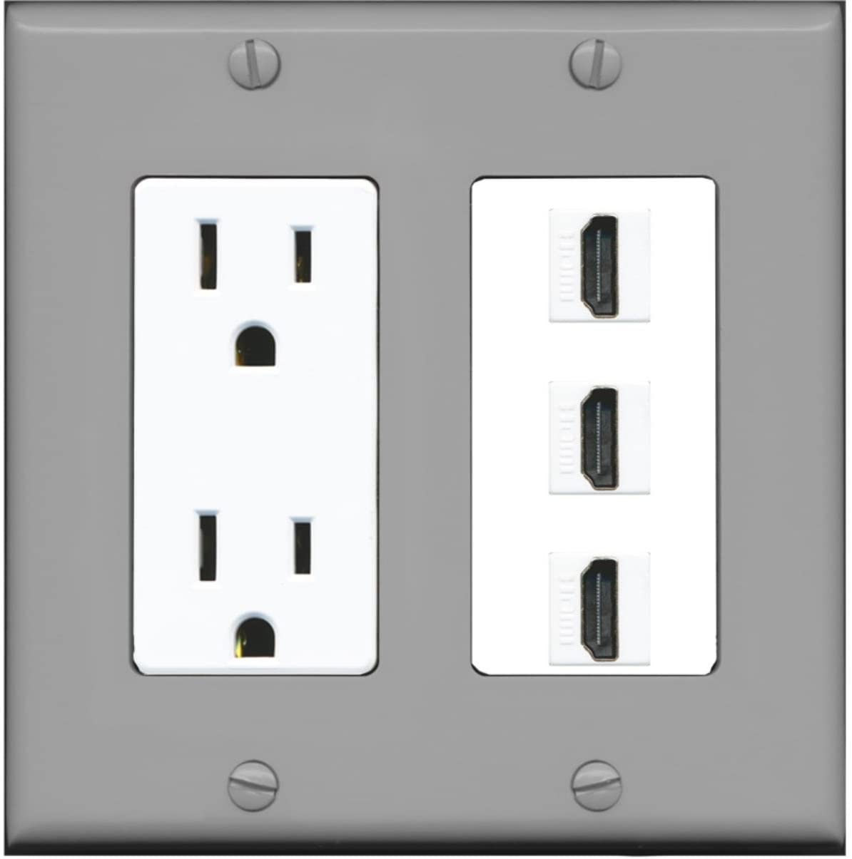 RiteAV - 15 Amp Power Outlet 3 Port HDMI Decorative Wall Plate - Gray/White