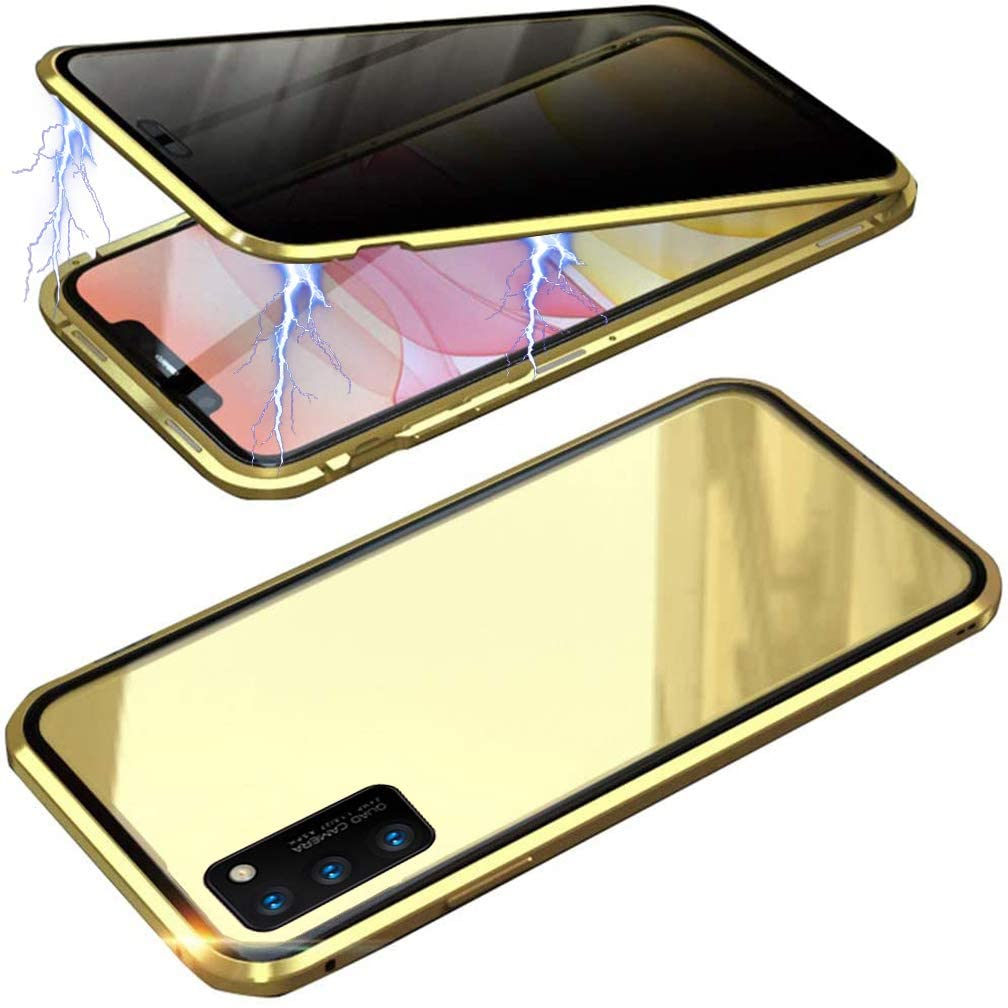 UMTITI Compatible Samsung Galaxy A50 Case, with Built-in Screen Protector Magnetic Clear Double-Sided Tempered Glass Anti-Spy Anti-Peeping Privacy Cover (Gold)