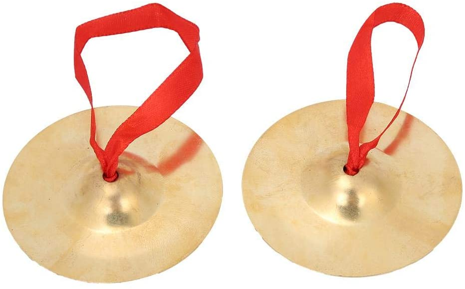 Bnineteenteam 2Pcs Brass Finger Cymbals with Crisp Sound Musical Percussion Instrument