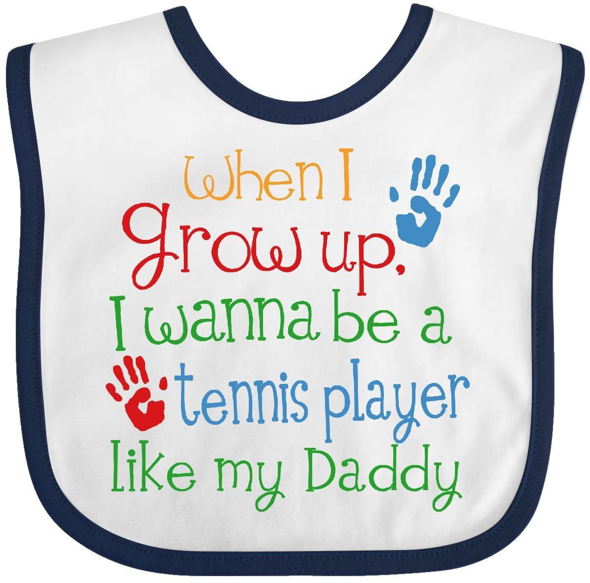 Inktastic Tennis Player Like Daddy Baby Bib White/Navy