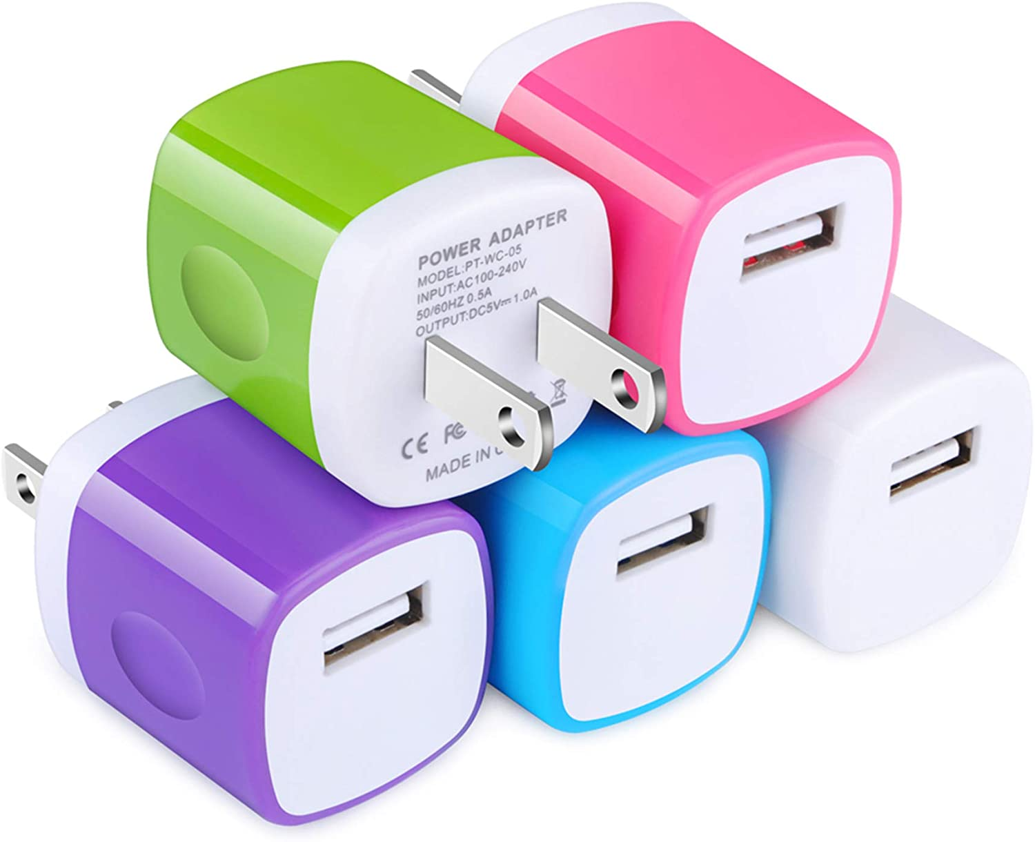 USB Wall Charger,TePoo 5 Pack Single Port 1A/5V Charging Block Power Adapter Plug Compatible with iPhone Xs Max/XR/X/8/7/6S/5,Samsung Galaxy S10e/S9/S8 Plus/Note 9 8,LG G8 G7,Moto,Pixel,Nexus,Android