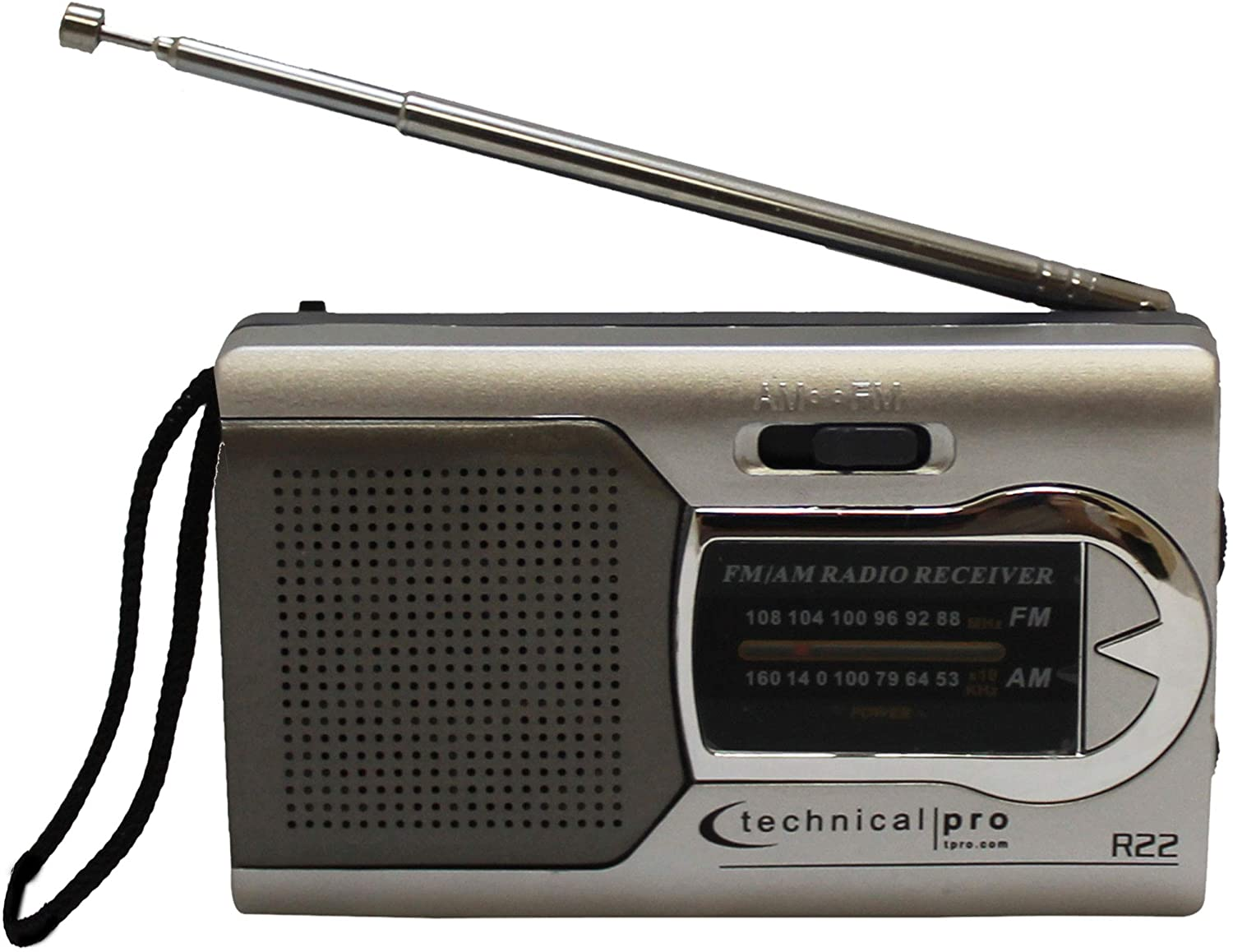 Technical Pro Battery-Powered AM/FM Radio Portable Speaker, Handheld Radio with Speaker Manual Tuner, Headphone Jack, Adjustable Antenna, Durable Design - for Home and Outdoor