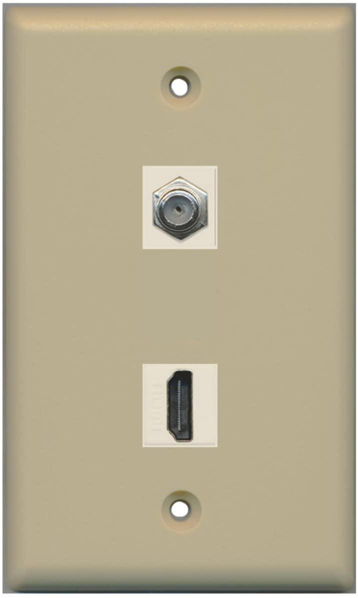 RiteAV - Flat 1 Port HDMI 1 Port Coax Cable TV- F-Type Wall Plate - Ivory