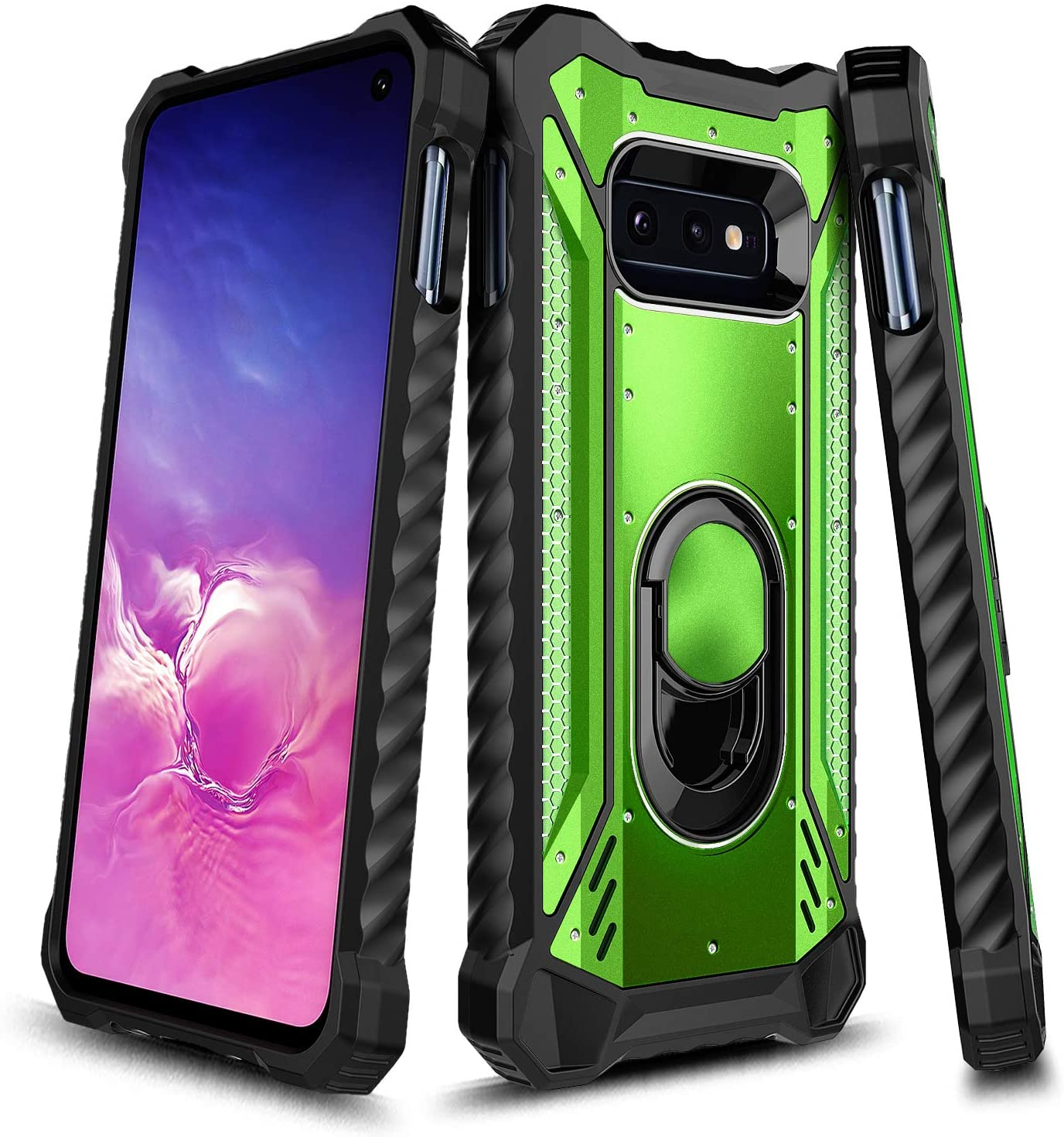 E-Began Galaxy S10 Plus Case, Aluminum Metal Built-in Magnetic Ring Holder Stand, Full-Body Protective Shockproof Military Phone Case for Samsung Galaxy S10+ Plus (Green)
