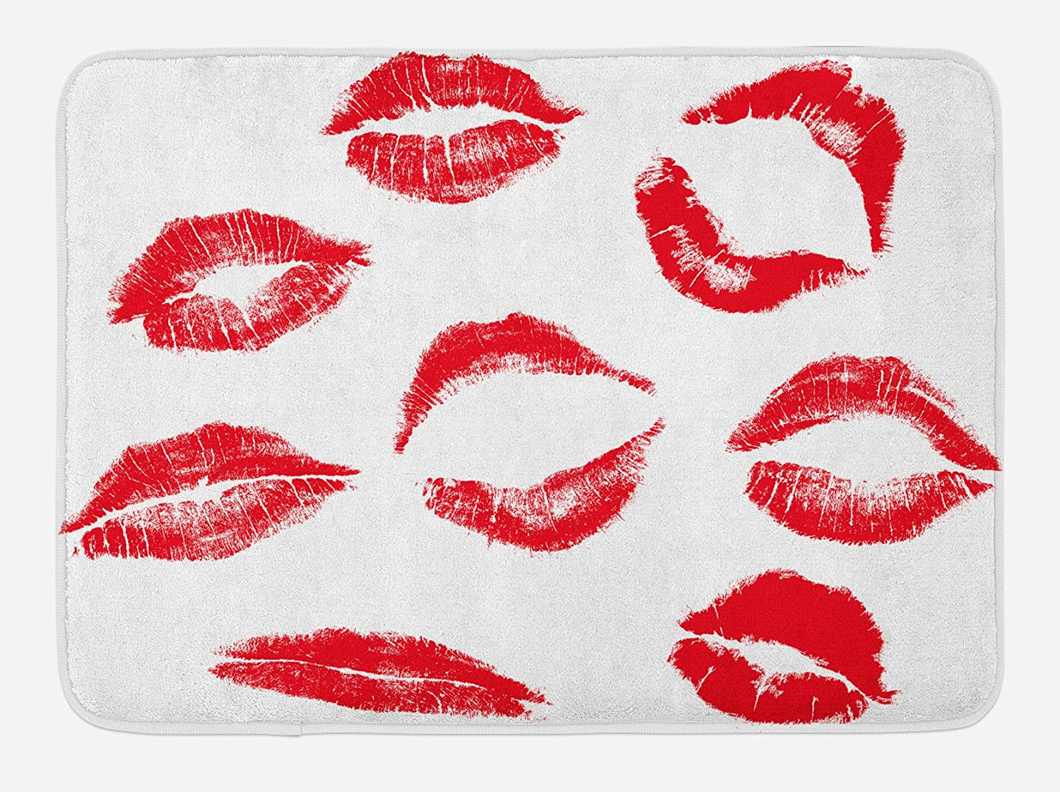 Ambesonne Kiss Bath Mat, Various Different Kiss Marks in Red Woman Seduction Lipstick Trace Worn Grunge Look, Plush Bathroom Decor Mat with Non Slip Backing, 29.5