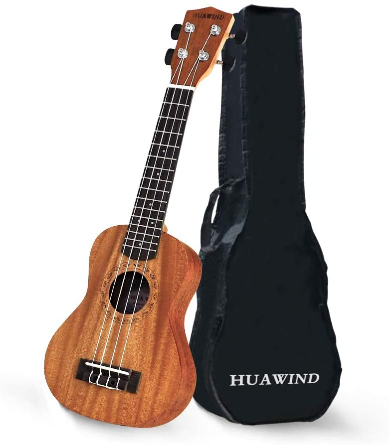 Hua Wind Soprano Ukulele Mahogany Starter 21Inch for Beginners,Hawaiian Uke with gigbag (Concert)