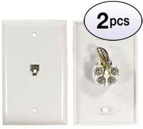 GOWOS (2 Pack) RJ11 Modular Single Port Wall Plate White, Smooth Face