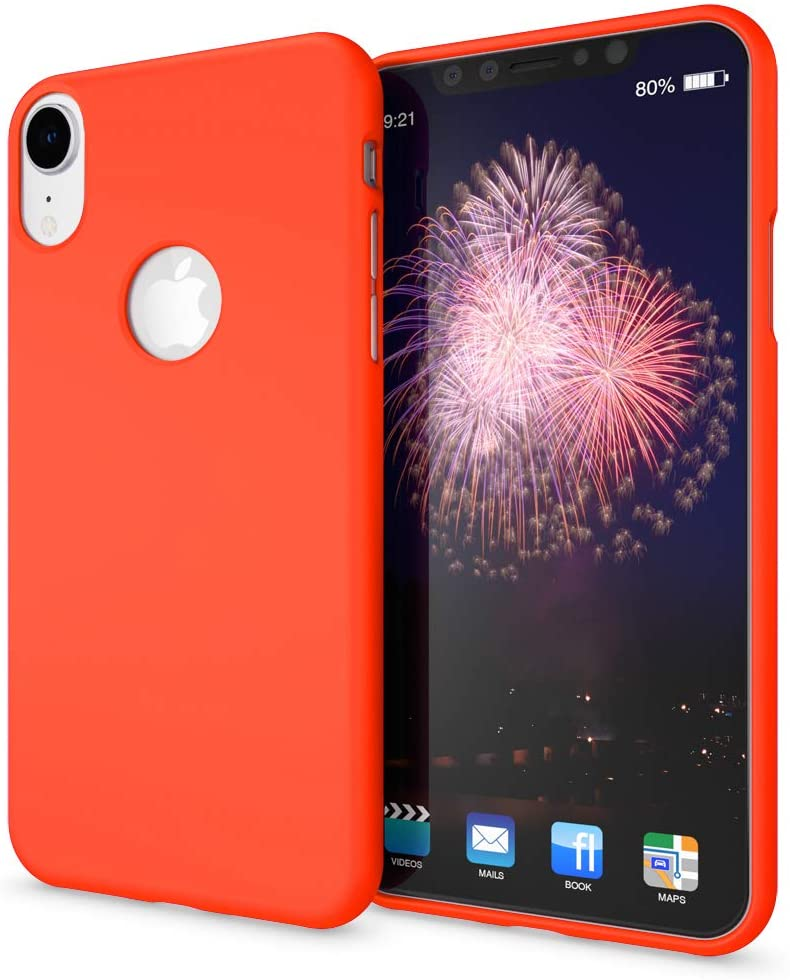 NALIA Case Compatible with iPhone XR, Ultra-Thin Luminous Neon Back-Cover Silicone Protector Rubber Soft Skin, Flexible Protective Shockproof Slim-Fit Gel Bumper Smart-Phone Back-Case, Color:Orange