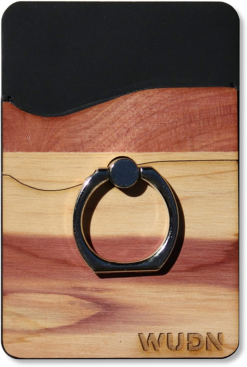 Wooden Phone Wallet & Universal Ring Phone Holder (Real Aromatic Cedar Wood)