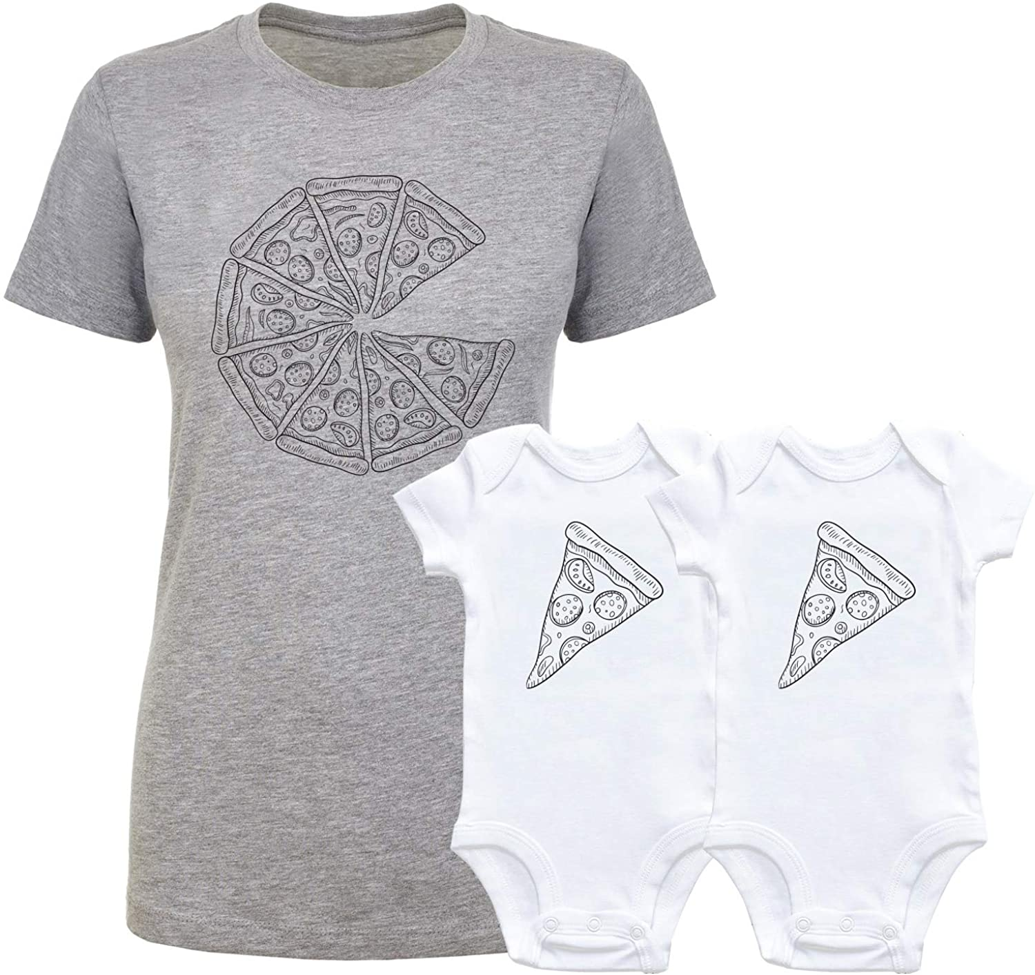 GOMOYO Twins Pizza Mommy and Me Shirt and Bodysuit Newborn Girl Boy Infant Outfits Clothes