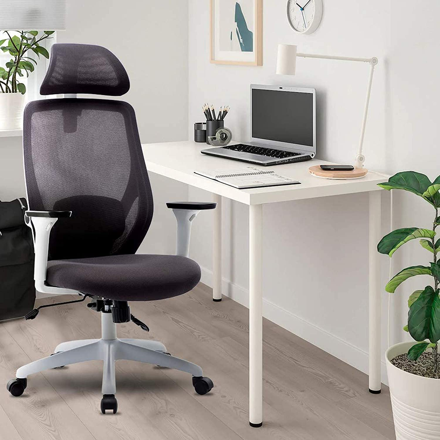 Ergonomic Office Chair,Mesh Chair Heavy Duty Desk Chair,Adjustable Headrest and Armrest,Home Computer Chair with Tilt Function and Position Lock,Swivel Computer Task Chair,High-Back(White)