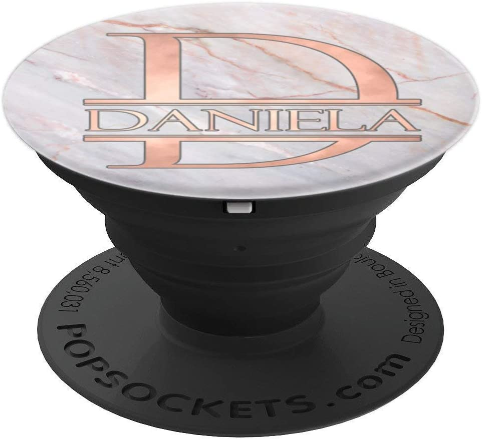 First Name Daniela Monogram in Rose Pink PACH374 PopSockets Grip and Stand for Phones and Tablets