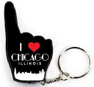 Chicago Illinois CItyscape Skyline Windy City Souvenir Plastic #1 Fan Keychain