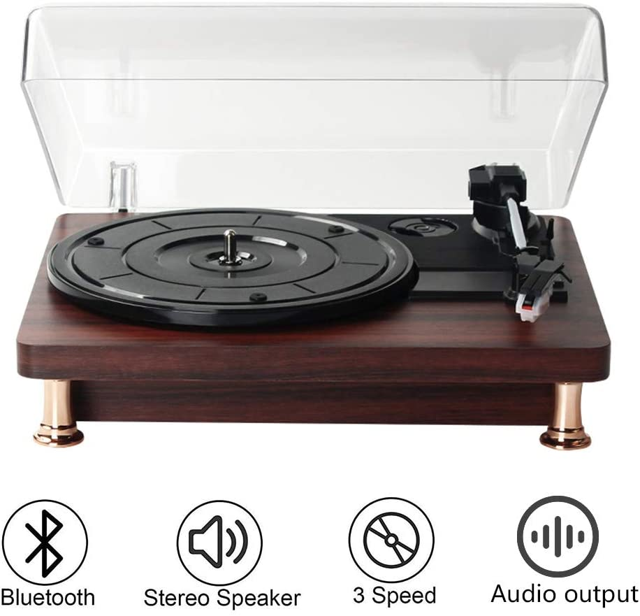 Lutingstore Record Player with Stereo Speakers,Vinyl Recordswith 3-Speed Wireless Turntable & Bluetooth Playback for Home Coffee Shop,Black
