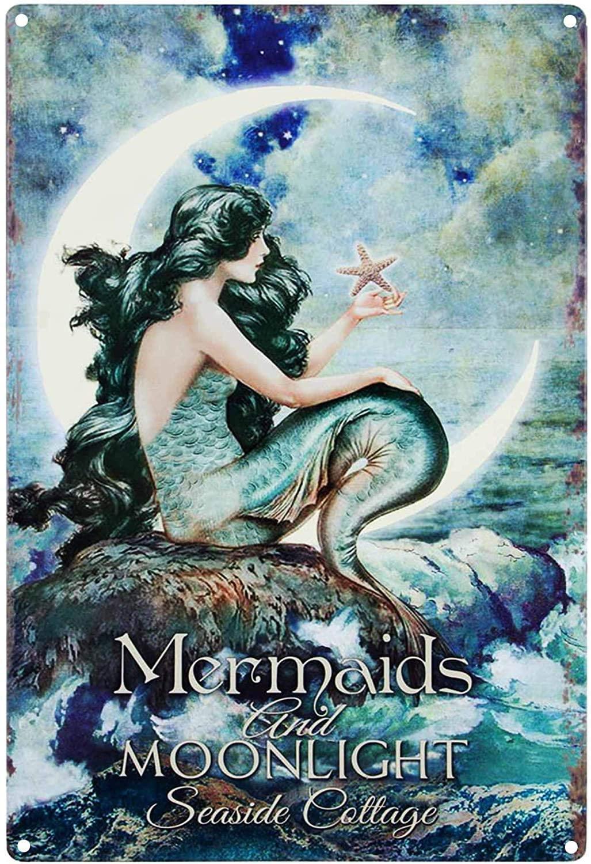 MAIYUAN Mermaids& Moonlight Tin Advertising Sign Home Decor Bathroom Wall Art Beautiful Vibrant Colors Metal Vintage Outdoor Garden Signs Kitchen Indoor8X12Inch