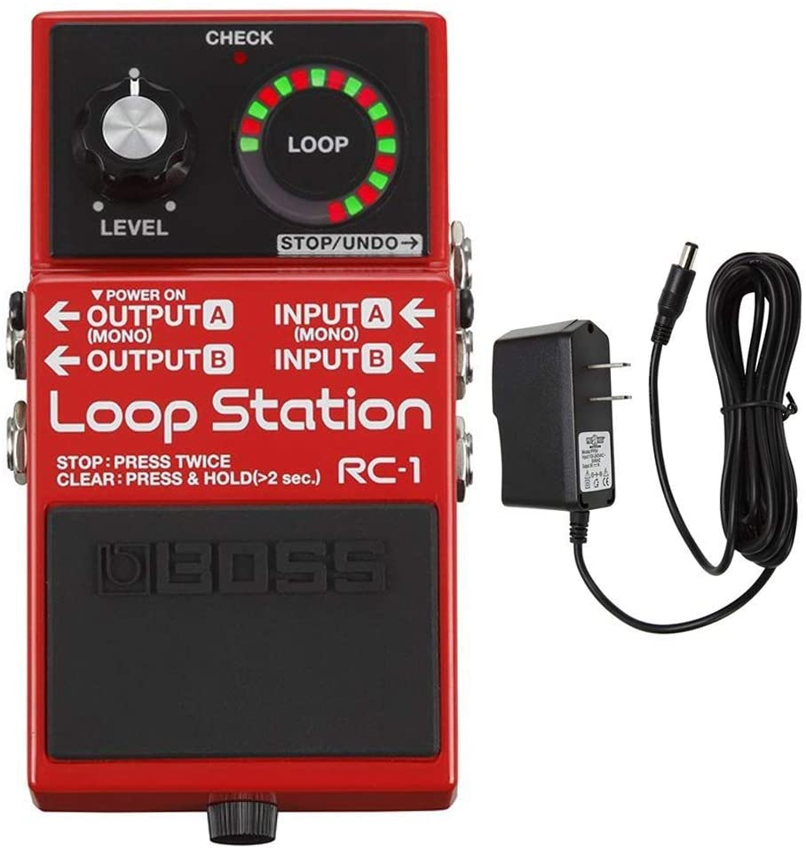 Boss RC-3 Loop Station Pedal & PigHog PP9V PowerPig 9V DC 1000ma Power Supply Bundle with Microfiber and 1 Year Everything Music Extended Warranty