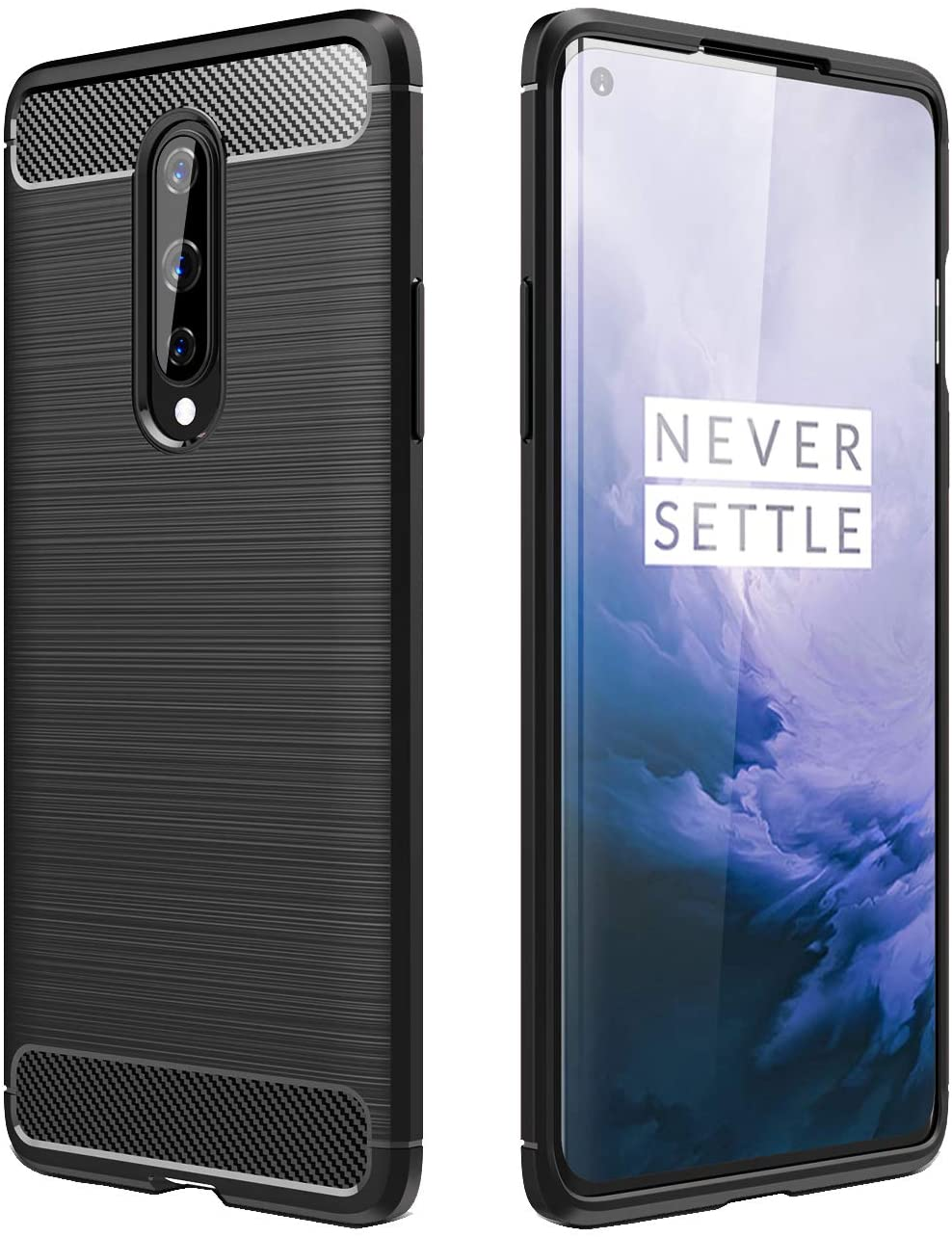 Avesfer for OnePlus 8 Case [Not Compatible with Verizon Version] Slim Fit Thin Resilient Flexible Soft TPU Cover [Anti-Slip][Shock-Proof][Scratch Resistant] Carbon Fiber Protective Case (Black)