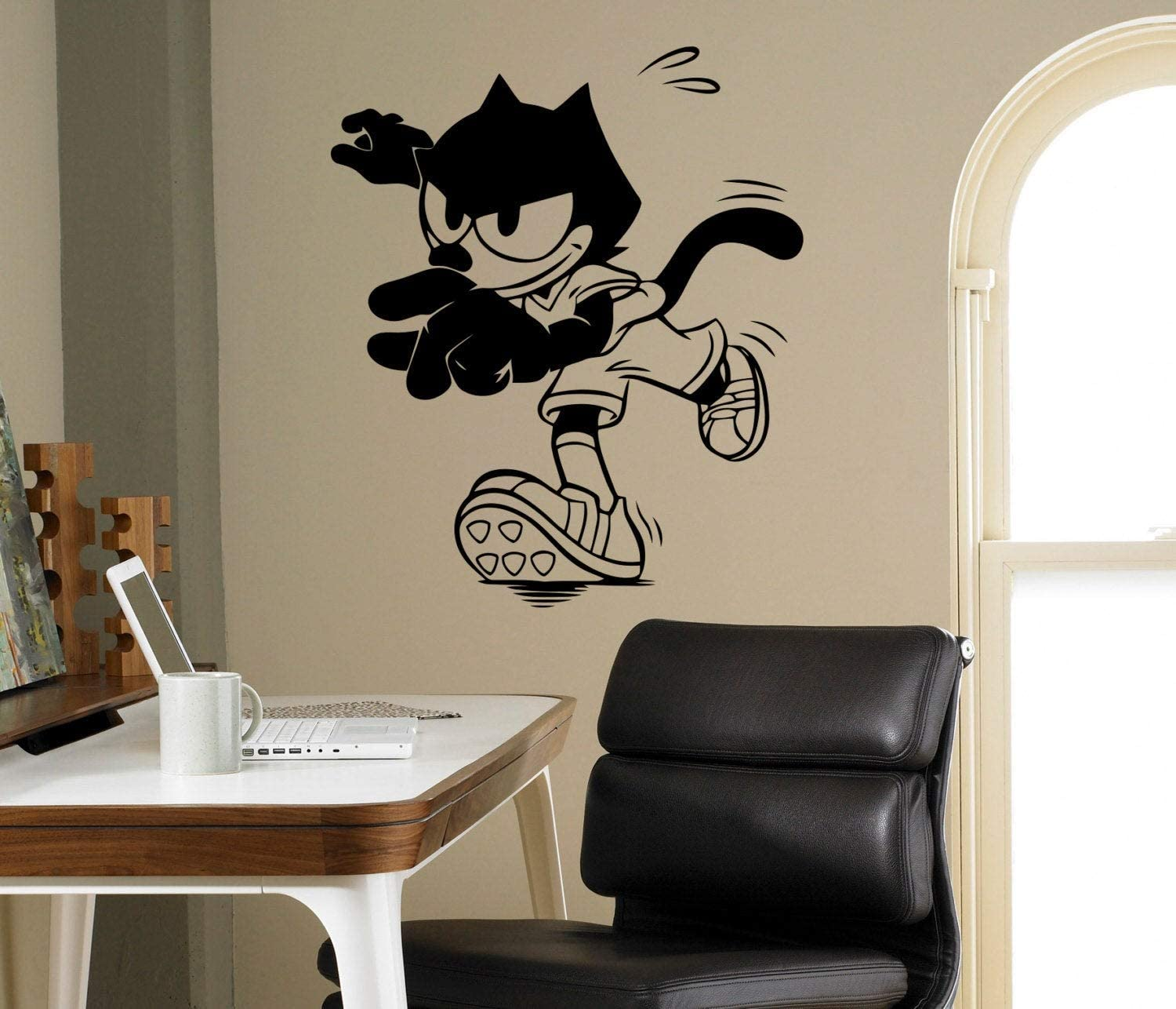 Place Felix Cat Vinyl Decal Comics Character Wall Sticker Funny Animal Home Interior - Kids Children Room Decor - Removable Stickers Made in USA - 12x15 Inch