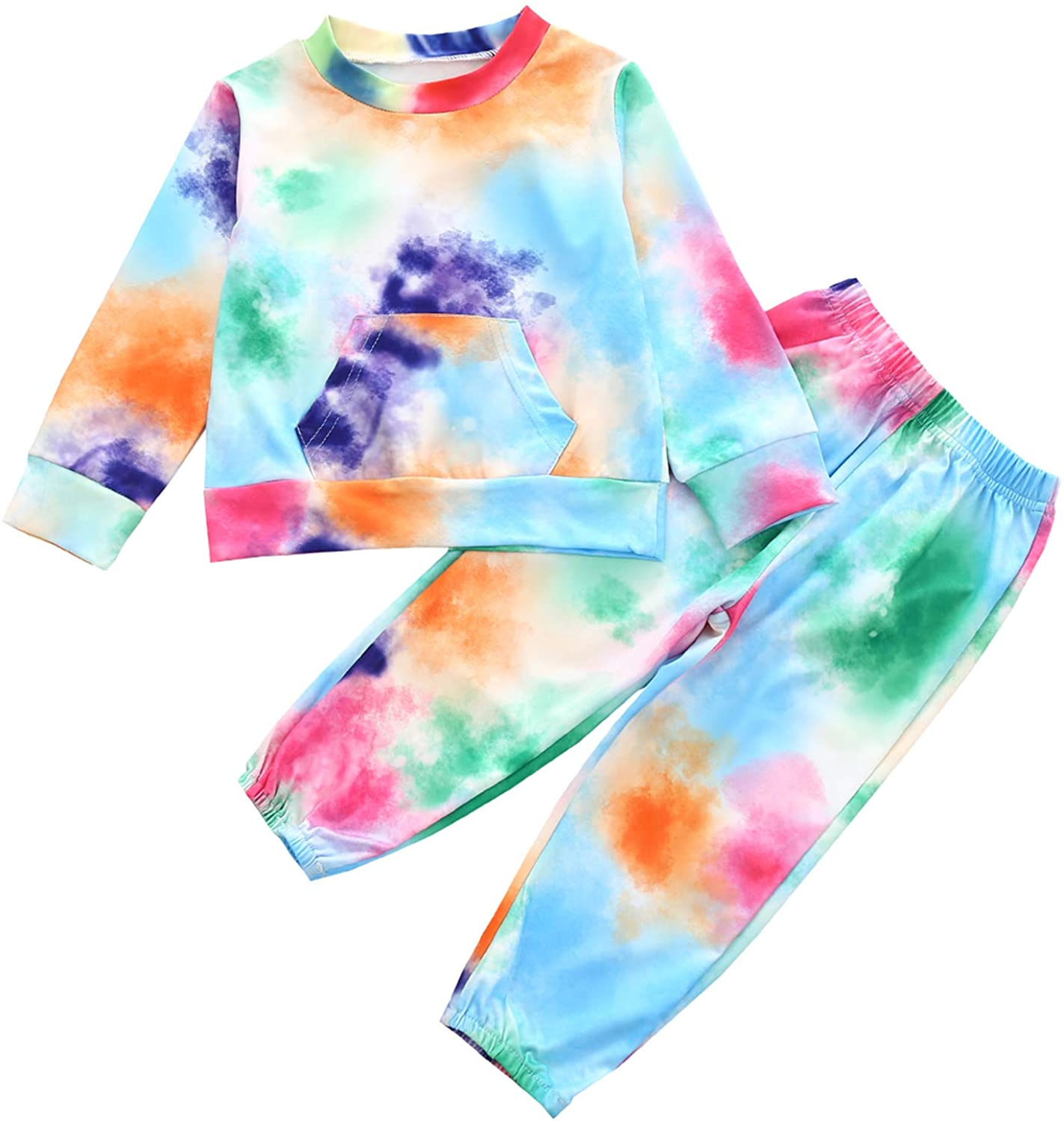 Kids Little Baby Girl Tie Dye Tracksuit Outfit Long Sleeve Pocket Top Shirt and Pants Fall Winter Set Sweatsuits