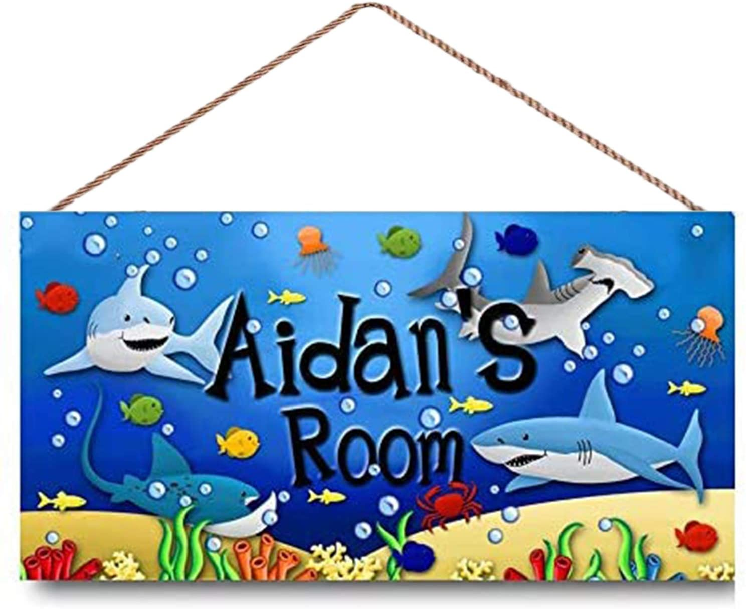 MUPIANLX Sharks in The Deep Boys Bedroom Personalized Name Sign Wood Signs Decor Chic Art Wall Home Yard Signs