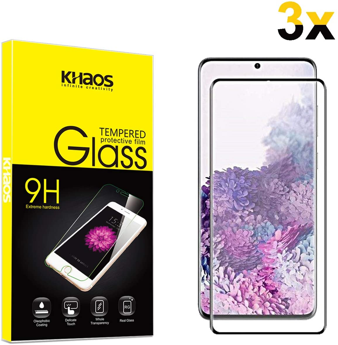 [3 Pack] Khaos Screen Protector for Samsung Galaxy S20+ S20 Plus,[3D Curved Edge] [Full Coverage] Tempered Glass Scratch Resistant, Bubble Free Screen Protector [Black]