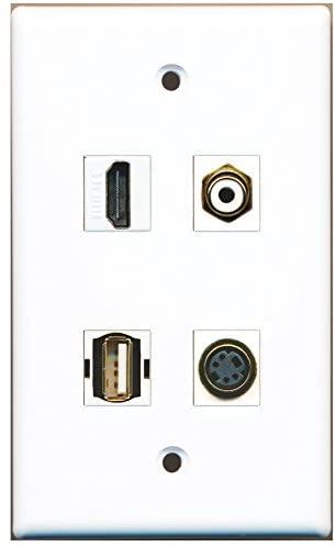 RiteAV - 1 Port HDMI 1 Port RCA White 1 Port USB A-A 1 Port S-Video Wall Plate