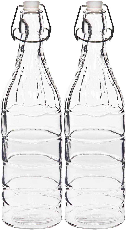 Swing Top Glass Bottles - Flip Top Brewing Bottles For Kombucha, Kefir, Beer - Oil, Vinegar, Beverages Clear Color - Air Tight Silicone Cap - Leak Proof - 33.75 oz. (1000 ml.). (2)
