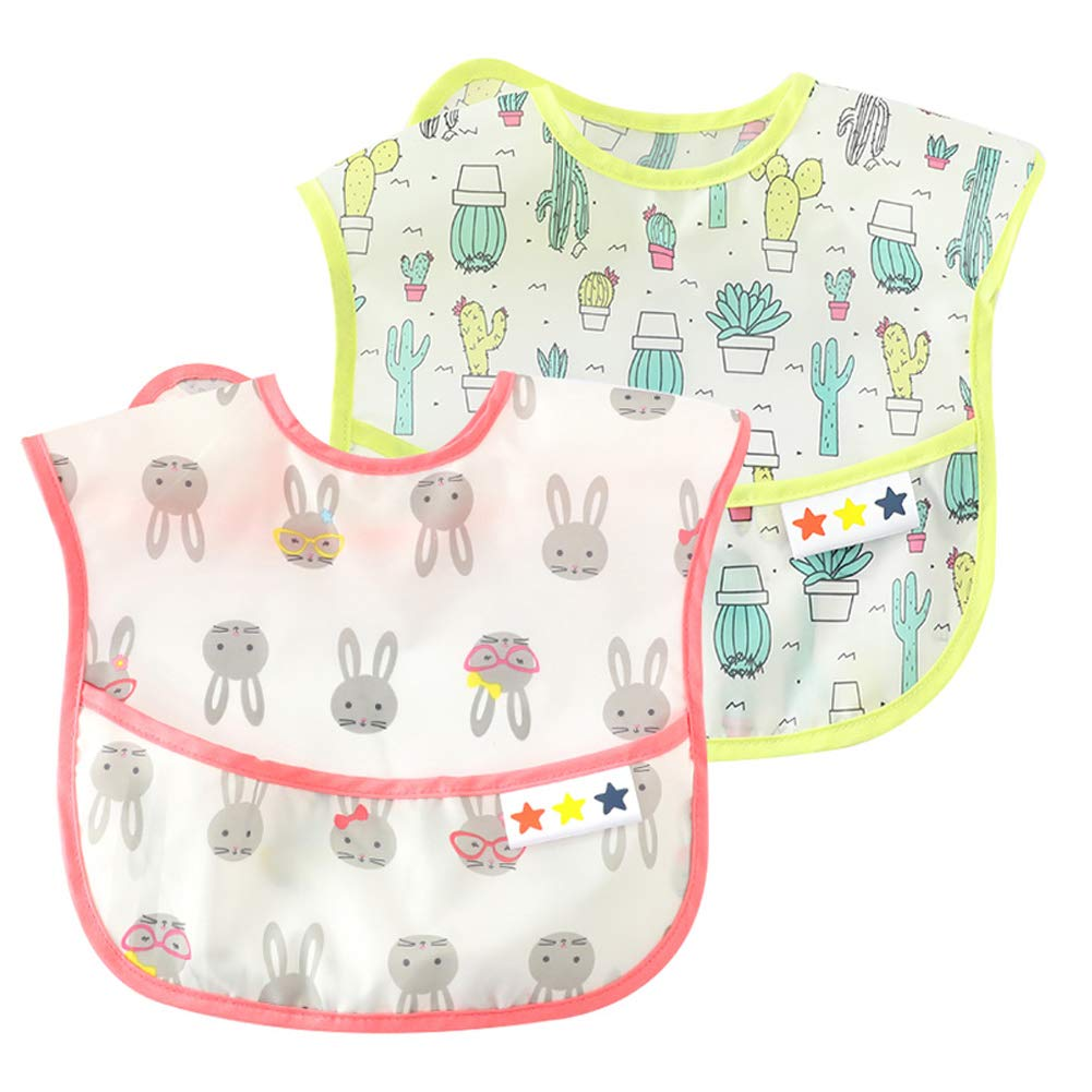 Baby Waterproof Washable Bib Breathable Feeding Bibs Crumb Catcher Lightweight Bibs Stain and Odor Adjustable Bib Durable Soft Bibs Eating Cartoon Bibs 6-24M