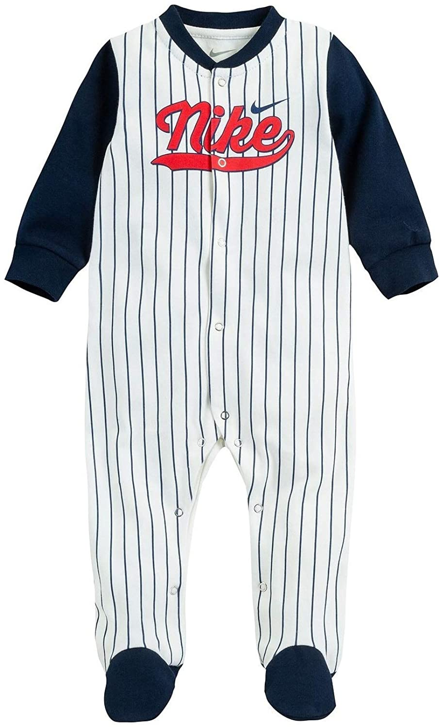 Nike Infant Baseball Uniform Footed Coverall (Size 3 Months) White/Navy