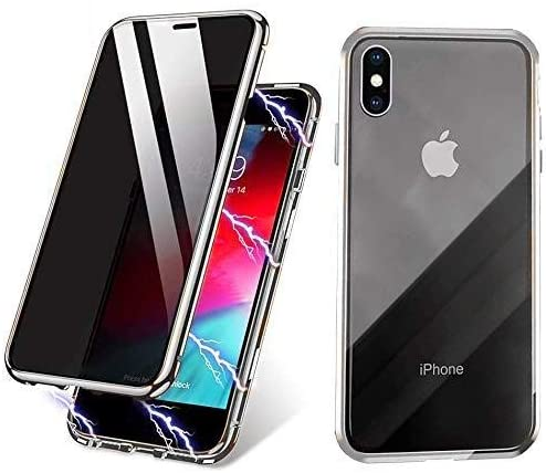 Magnetic Phone Case for iPhone 7plus/8plus Silver Anti-Peep Privacy Screen Protector with HD Double Sided Tempered Glass Metal Frame Phone Cover Minimalist