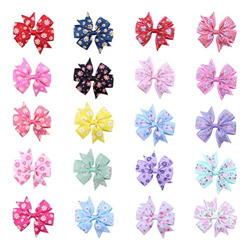 Frcolor Bow Barrettes Hair Clips Bowknot Hairpins for Baby Kids Children Girls, Pack of 20