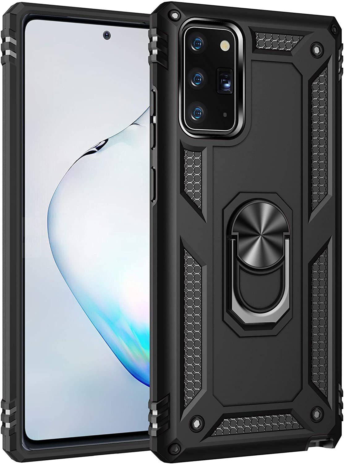 Konyaoo for Galaxy Note 20 5G/Note 20 case, withShockproof and Sturdy Armored Double-Layer Plastic TPU Cover Ring, for Samsung Galaxy Note 20 6.7 inch Black