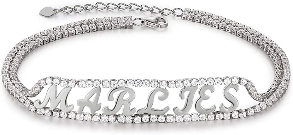 kaululu Personalized Letter Bracelet for Women Custom Engraved Women's Link Bracelets with Name Adjustable Girls Dainty Bracelets Cute Jewelry for Teen Girls Mom Her