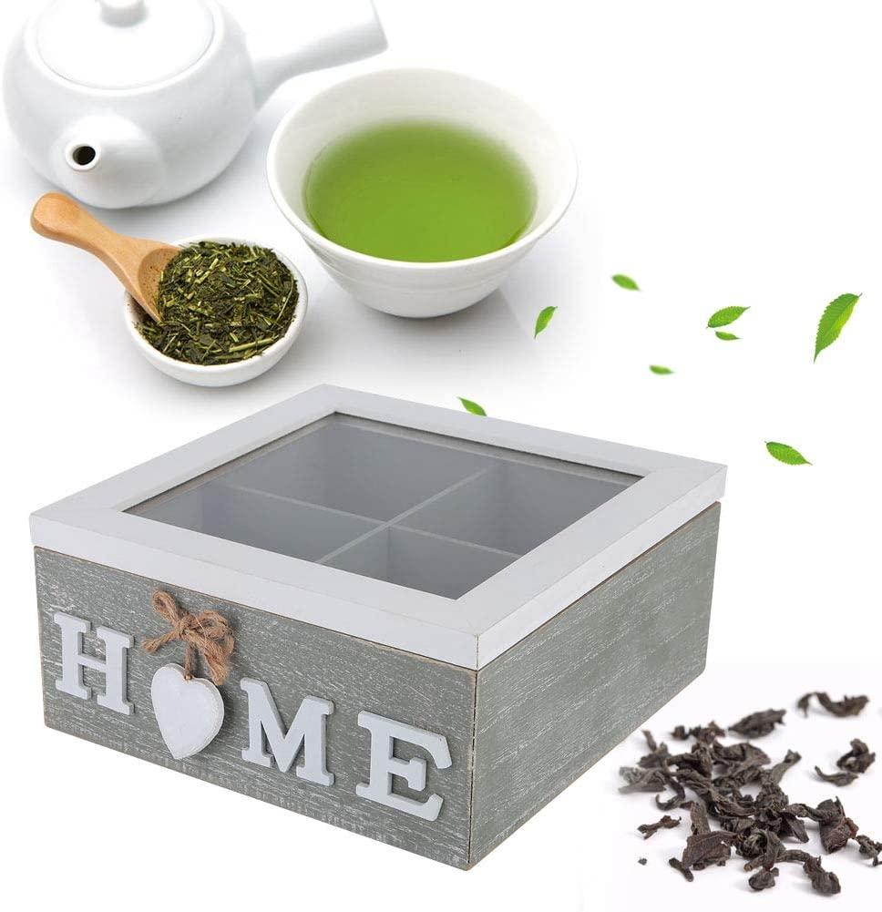 Qioni Wood Tea Box Decorative Box Wood Box Desktop Decorative Box Nice Gift for Your Friends Home Decoration