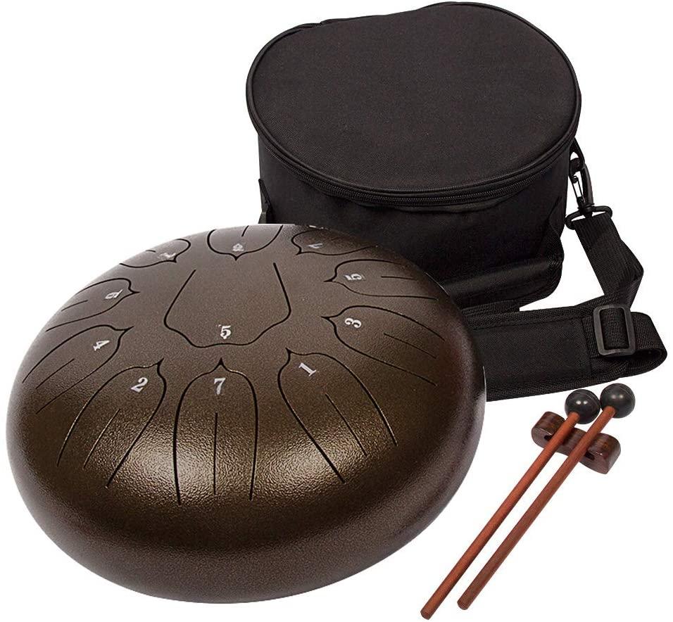 Luvay Steel Tongue Drum - 11 Notes 12 inches - Percussion Instrument - with Bag, Book, Mallets, Finger Picks