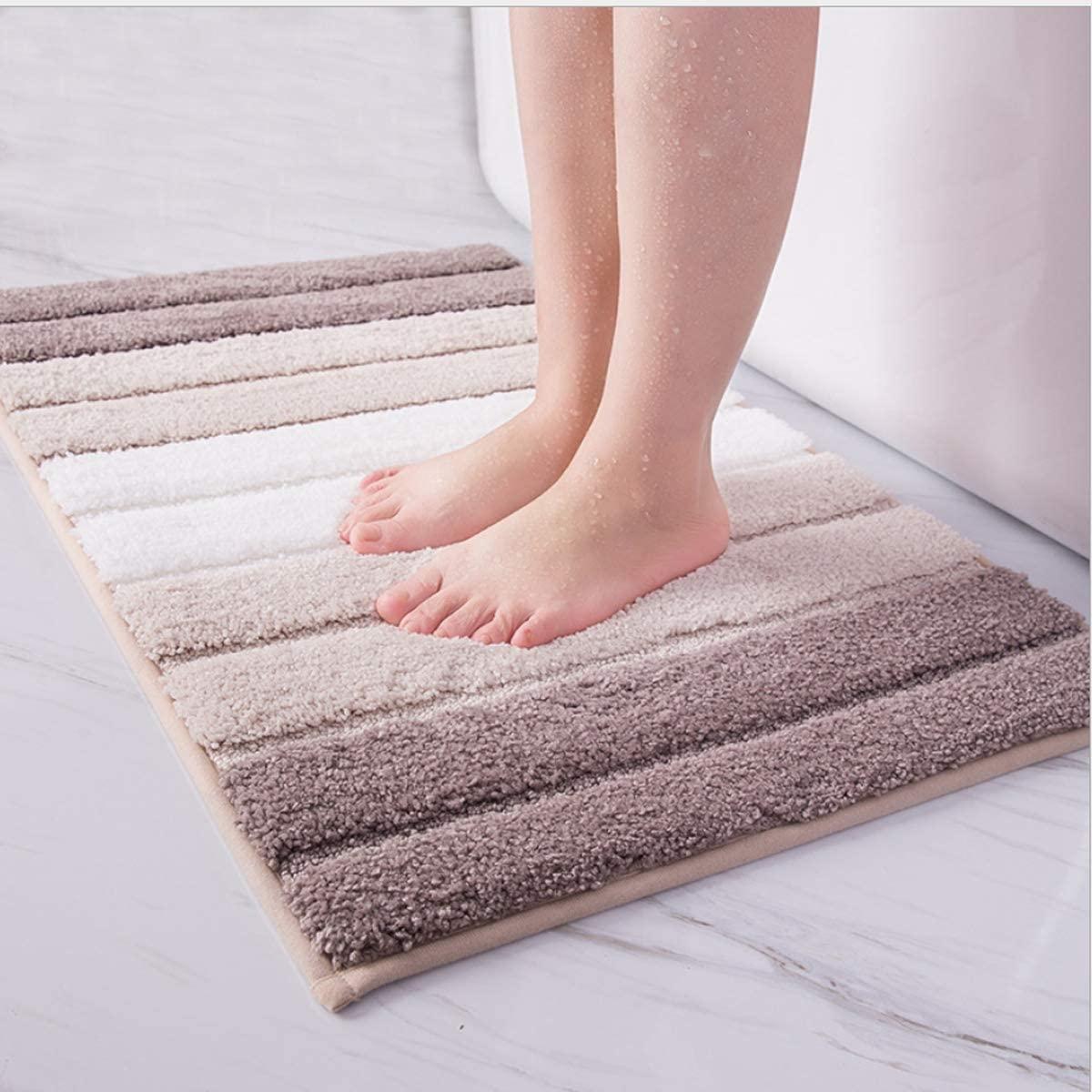 Bath Mats for Bathroom Soft Fluffy Absorbent Microfiber Bathroom Mat Rug Anti-Slip Mat Plush Carpet for Bathroom, Can Be Used in Shower Room, Living Room.Machine Bathroom Mat (18X26inch, Beige)
