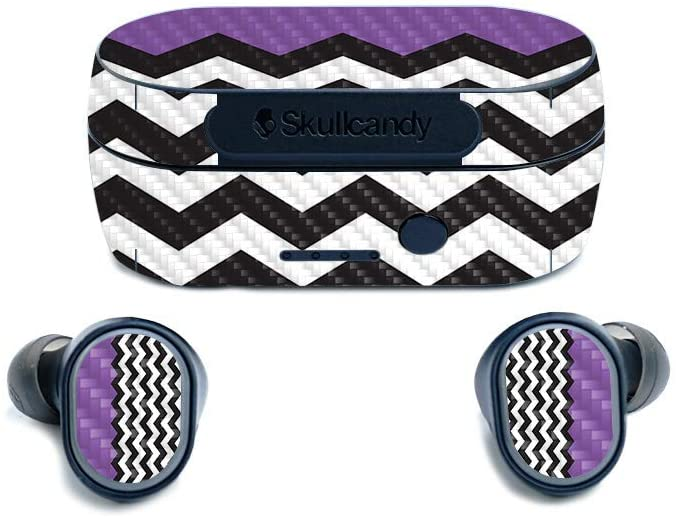 MightySkins Carbon Fiber Skin for SkullCandy Sesh True Wireless Earbuds - Purple Chevron | Protective, Durable Textured Carbon Fiber Finish | Easy to Apply, Remove, and Change Styles | Made in The USA
