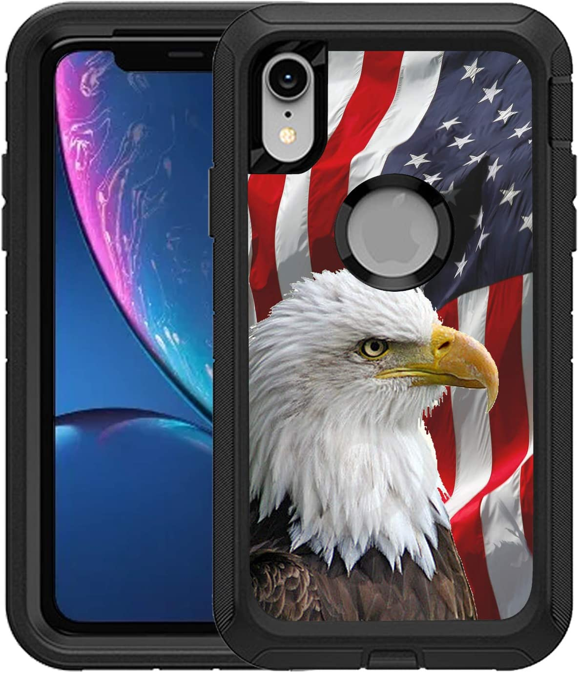 TeleSkins Protective Designer Vinyl Skin Decals/Stickers Compatible with Otterbox Defender iPhone Xr Case -Bald Eagle American Flag Design Patterns - only Skins and not Case