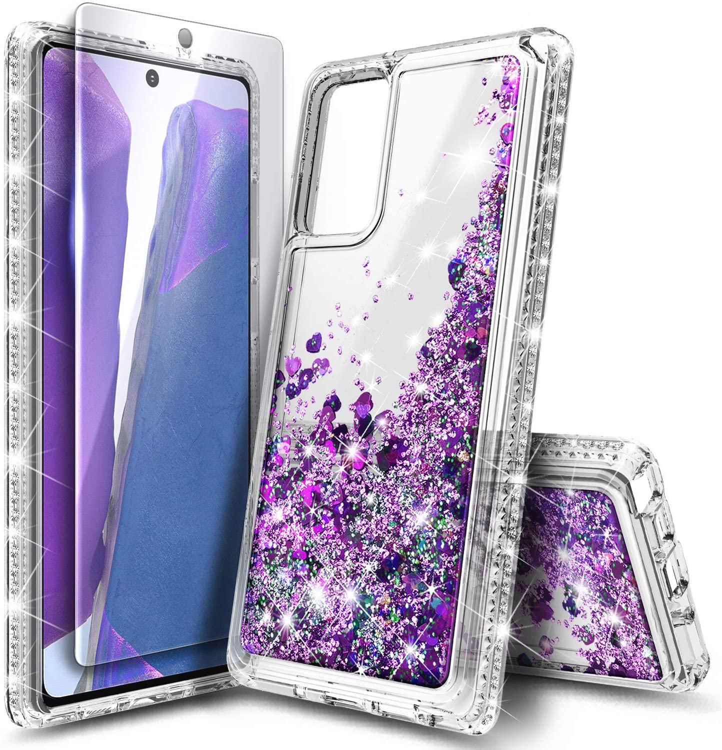 E-Began Case for Samsung Galaxy Note 20 with Tempered Glass Screen Protector, Sparkle Glitter Flowing Liquid Floating Quicksand w/Shiny Bling Diamond, Durable Girls Cute Phone Case (Purple)