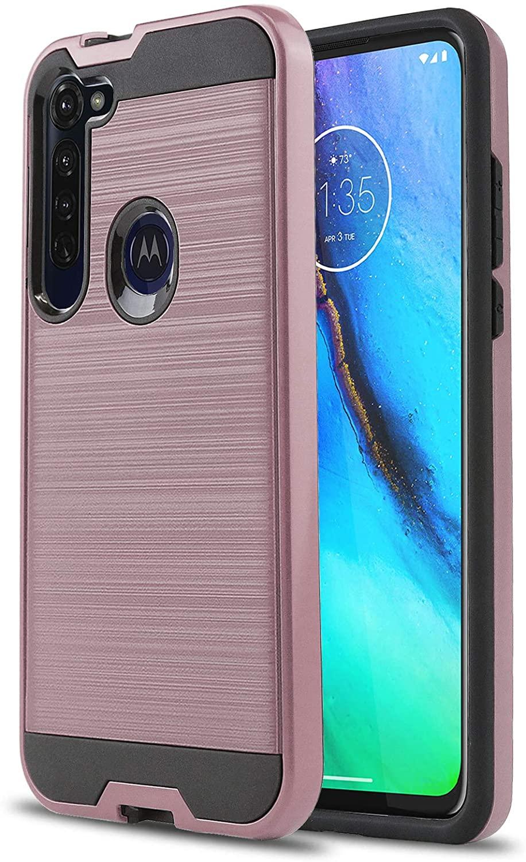 CasemartUSA Phone Case for [Motorola Moto G Stylus], [Protech Series][Rose Gold] Shockproof Brushed Hybrid Slim Protective Cover for Motorola Moto G Stylus (Verizon Wireless, Mint, Simple Mobile)