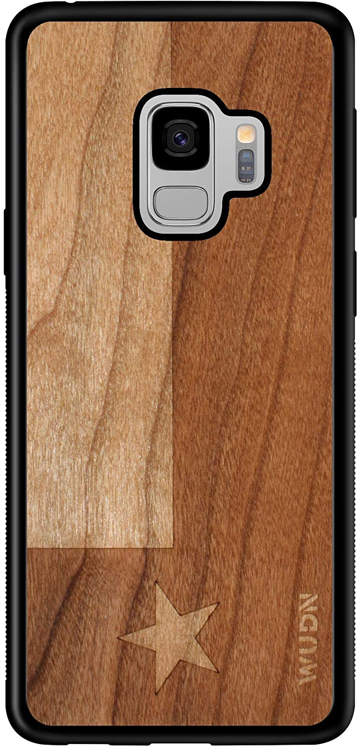 Wooden Phone Case (Texas State Flag in American Cherry) Compatible with Galaxy S9, Samsung Galaxy S9