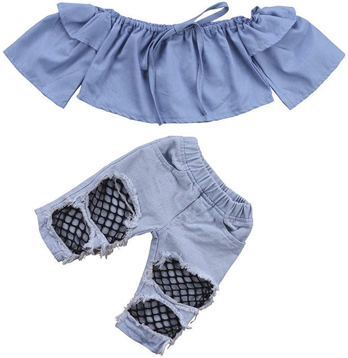 Baby Girl Outfits Off Shoulder Ruffle Blouse Crop Tops+Bell Bottom Pants Ripped Denim Jeans Headband Kids Clothes Set