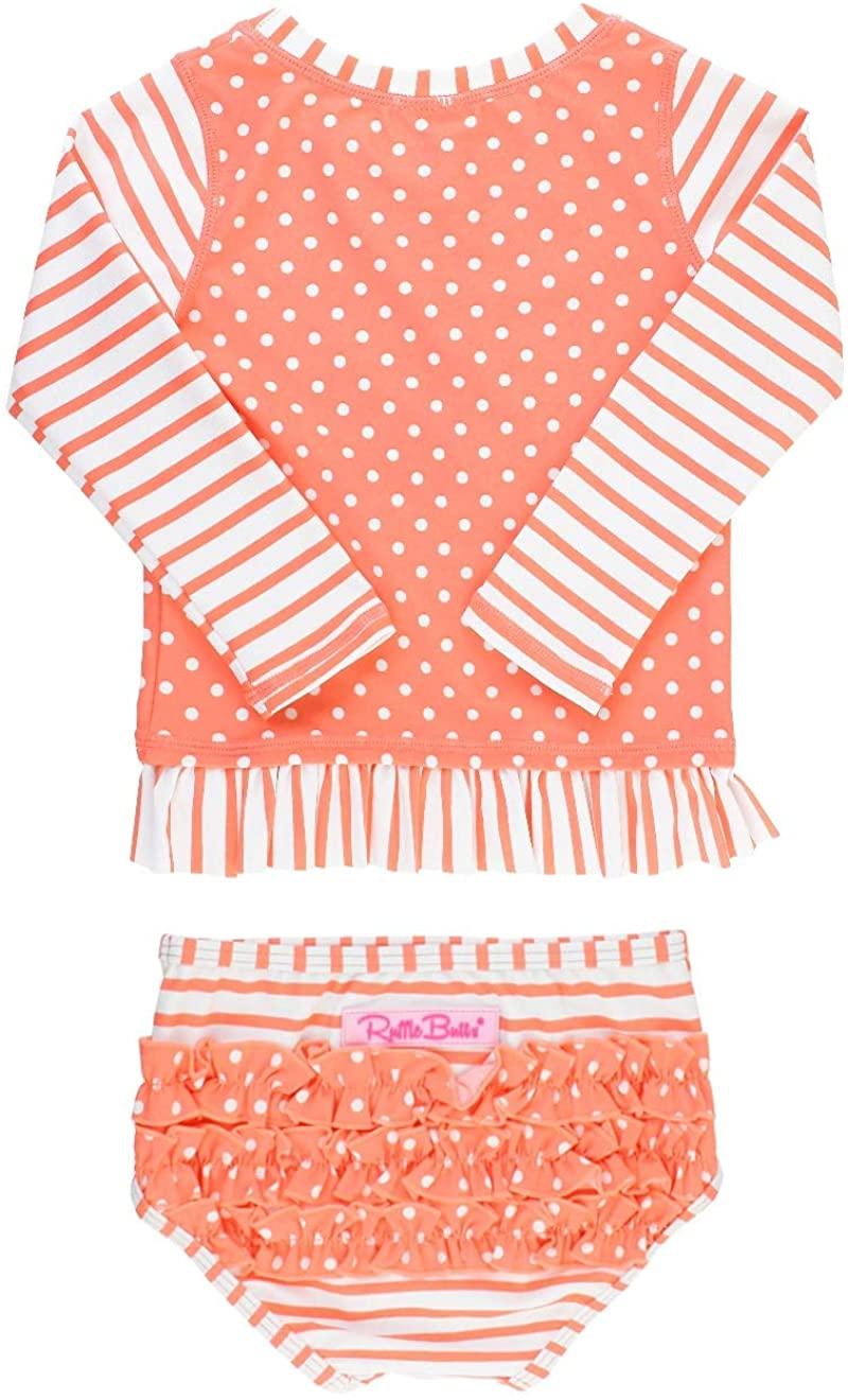 RuffleButts Girls Coral Stripe Polka Long Sleeve Rash Guard Bikini - 6