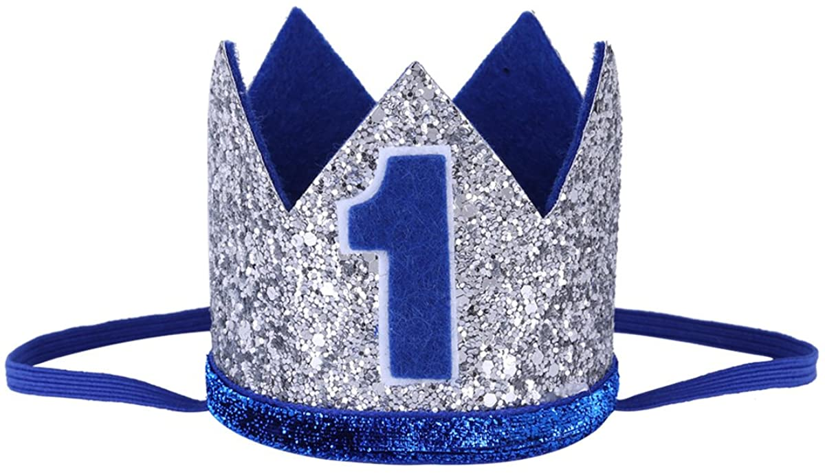 MSemis Baby Boys Girls 1st/2nd Birthday Hat Sparkly Prince/Princess Party Crown Tiara Hat Photo Shoot Prop