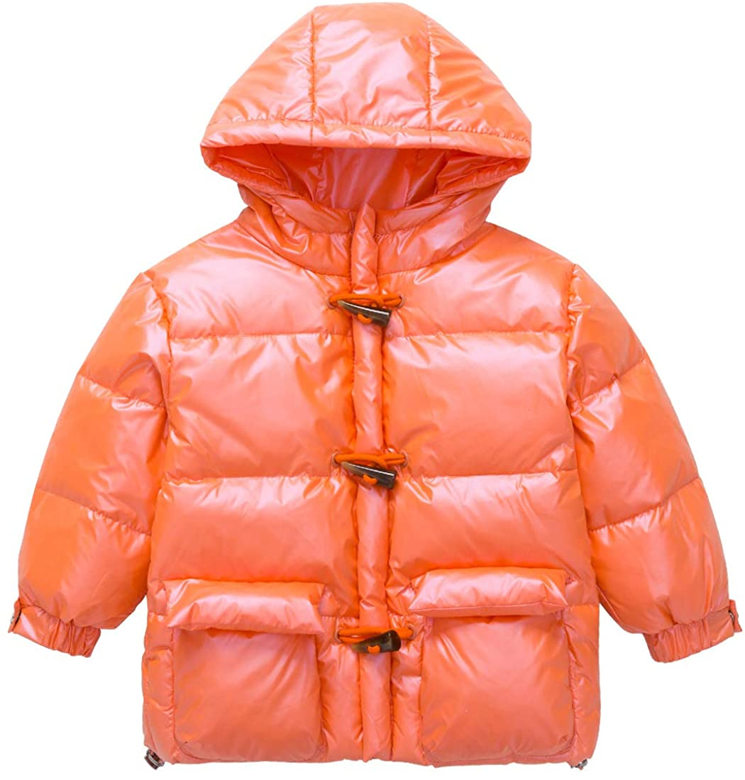 Happy Cherry Boy Girl Winter White Duck Down Jackets Light Puffer Cotton Coats Toggle Button Hoodie 3-10 Years