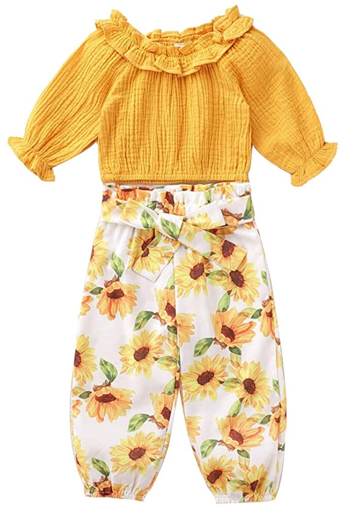 Teblacker 2PCS Floral Outfit for Baby Girl Long Sleeve Yellow Tops Sunflower Printed Pant Sets