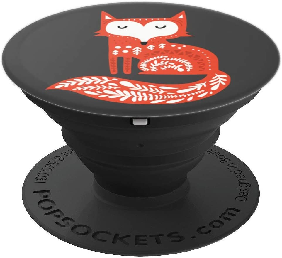 Cute & Unique Scandinavian Folk Art Red Fox PACJ0837 PopSockets Grip and Stand for Phones and Tablets