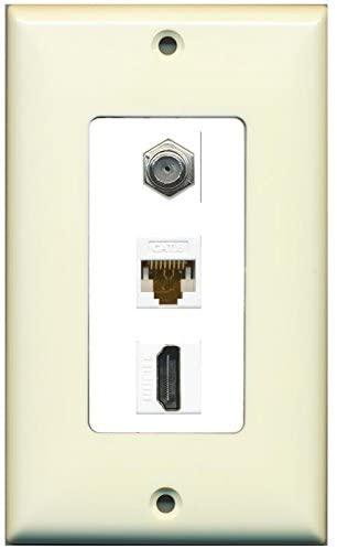 RiteAV Decorative 1 Gang Wall Plate (Light Almond/White) 3 Port - Coax (White) Cat6 (White) HDMI (White)