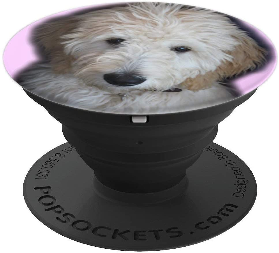 Goldendoodle On Pink Background PopSockets Grip and Stand for Phones and Tablets